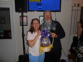 Lion Dave with Easter Egg Raffle Winner